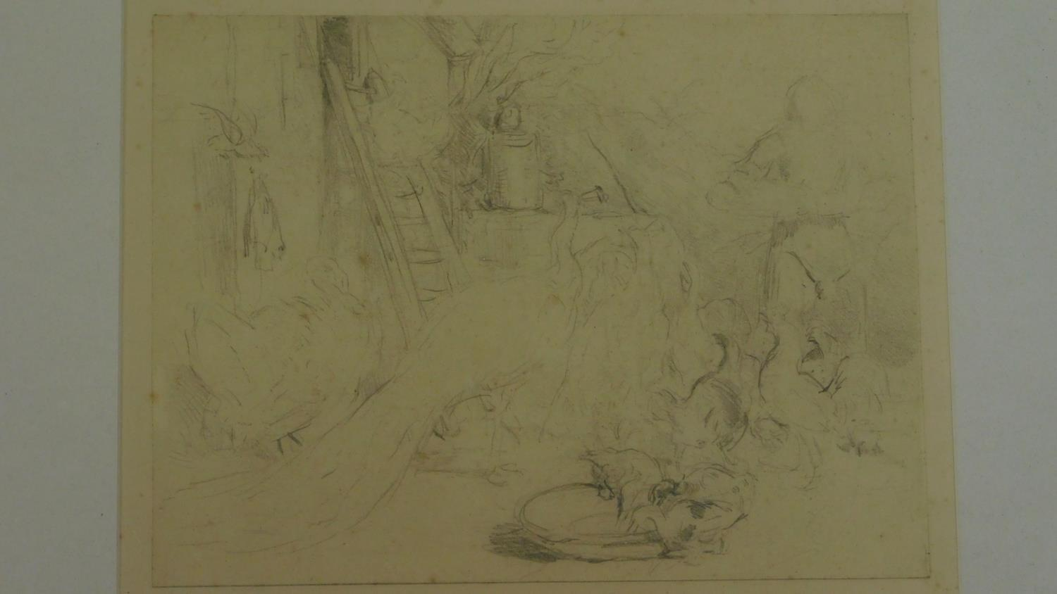 A framed and glazed pencil sketch of a farmyard scene with inscription to the back, (possibly from - Image 3 of 4