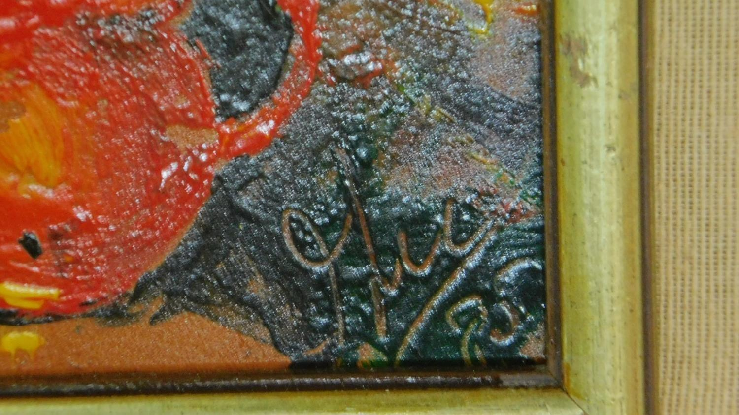 A pair of framed oils on board, still life flowers, monogrammed. 45x45cm (some paint flaking) - Image 5 of 5