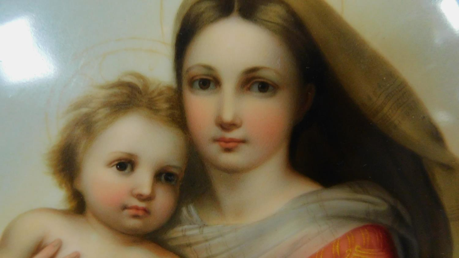A hand painted on porcelain plaque, Madonna and child 20x15cm - Image 3 of 4