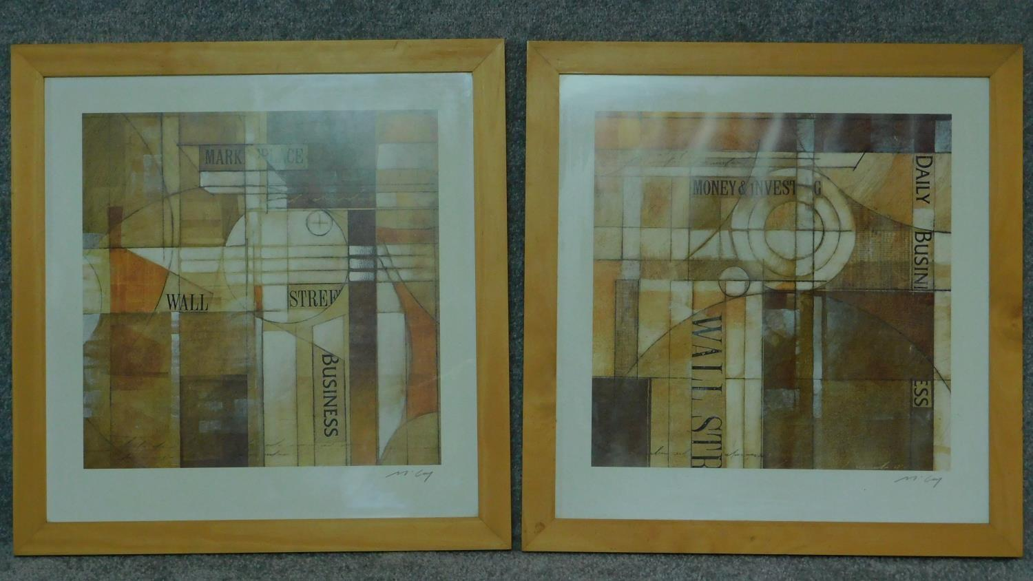 A pair of framed and glazed prints, cubist style Wall Street Journal. 65.5x63.5cm