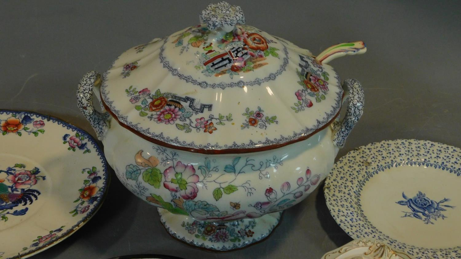 A 19th century Staffordshire ironstone tureen and cover (associated ladle) and various other - Image 9 of 18