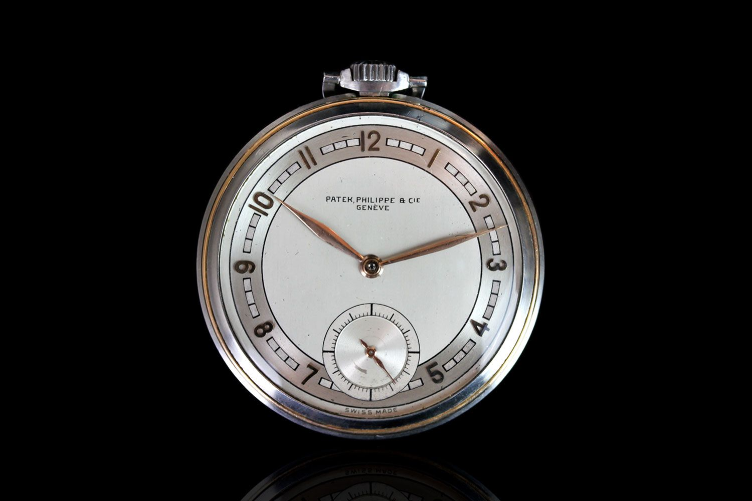 PATEK PHILIPPE KEYLESS POCKET WATCH, BRUSHED STEEL WITH SUBSIDIARY SECONDS, MANUALLY WOUND POCKET
