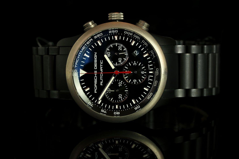 GENTLEMANS PORSCHE P6000 DESIGN CHRONOGRAPH,6612.1412, round, blue dial with white illuminated