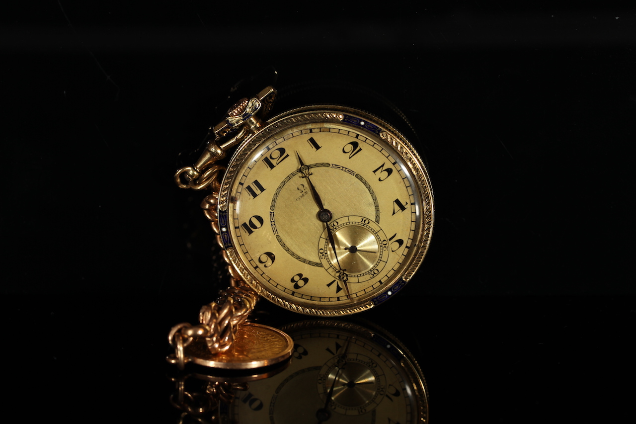 VINTAGE 14K OMEGA OPEN FACED POCKET WATCH, MOVEMENT NUMBER 5814508, WITH GOLD COIN SET KEY CHAIN,