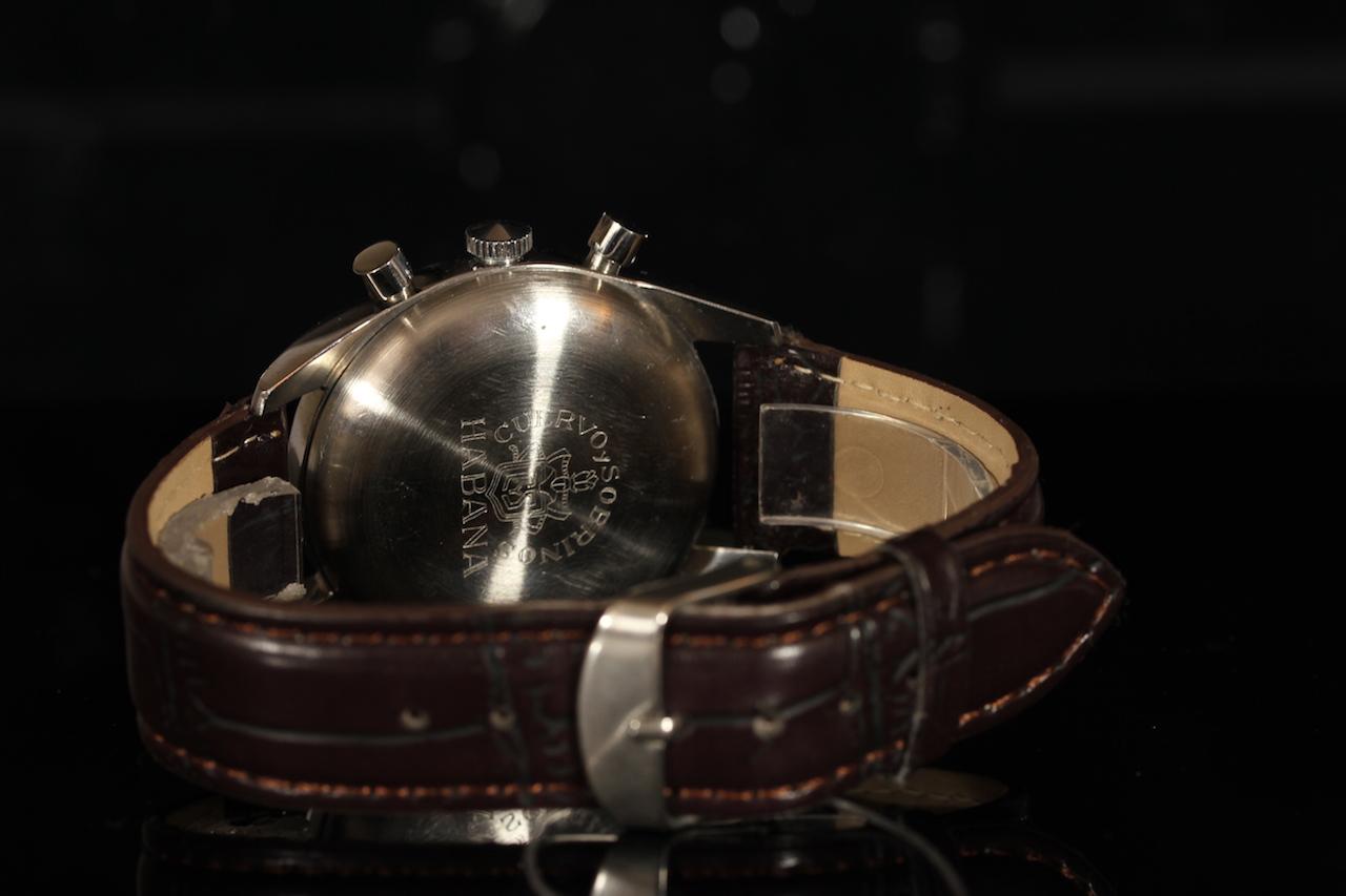 GENTLEMANS CUERVO Y SOBRINOS HABANA CHRONOGRAPH,round,silver dial with black hands,black arabic - Image 2 of 2
