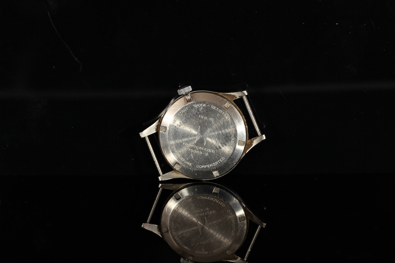 GENTLEMENS HAMILTON G.S. TROPICALIZED WRISTWATCH REF. 1 680 984, circular patina black dial with - Image 2 of 2