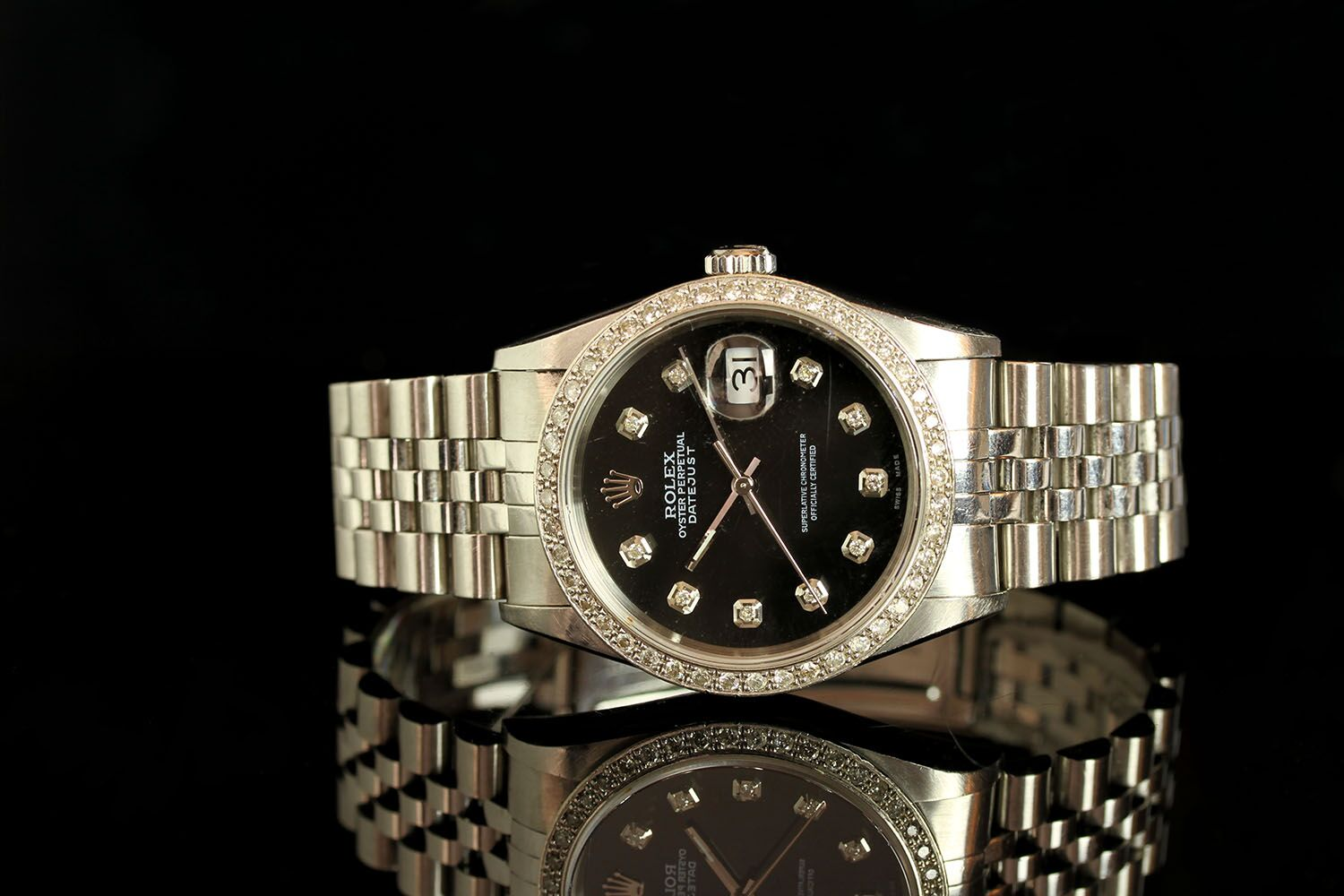 GENTLEMAN'S ROLEX DATEJUST DIAMOND SET , MODEL 16234,SN K61...., CIRCA 2001, round, black dial