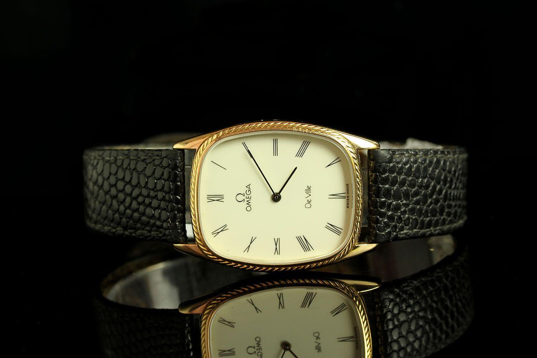 GENTLEMANS OMEGA DEVILLE DRESS WATCH, tv shape,beige dial with gold hands, black roman numeral