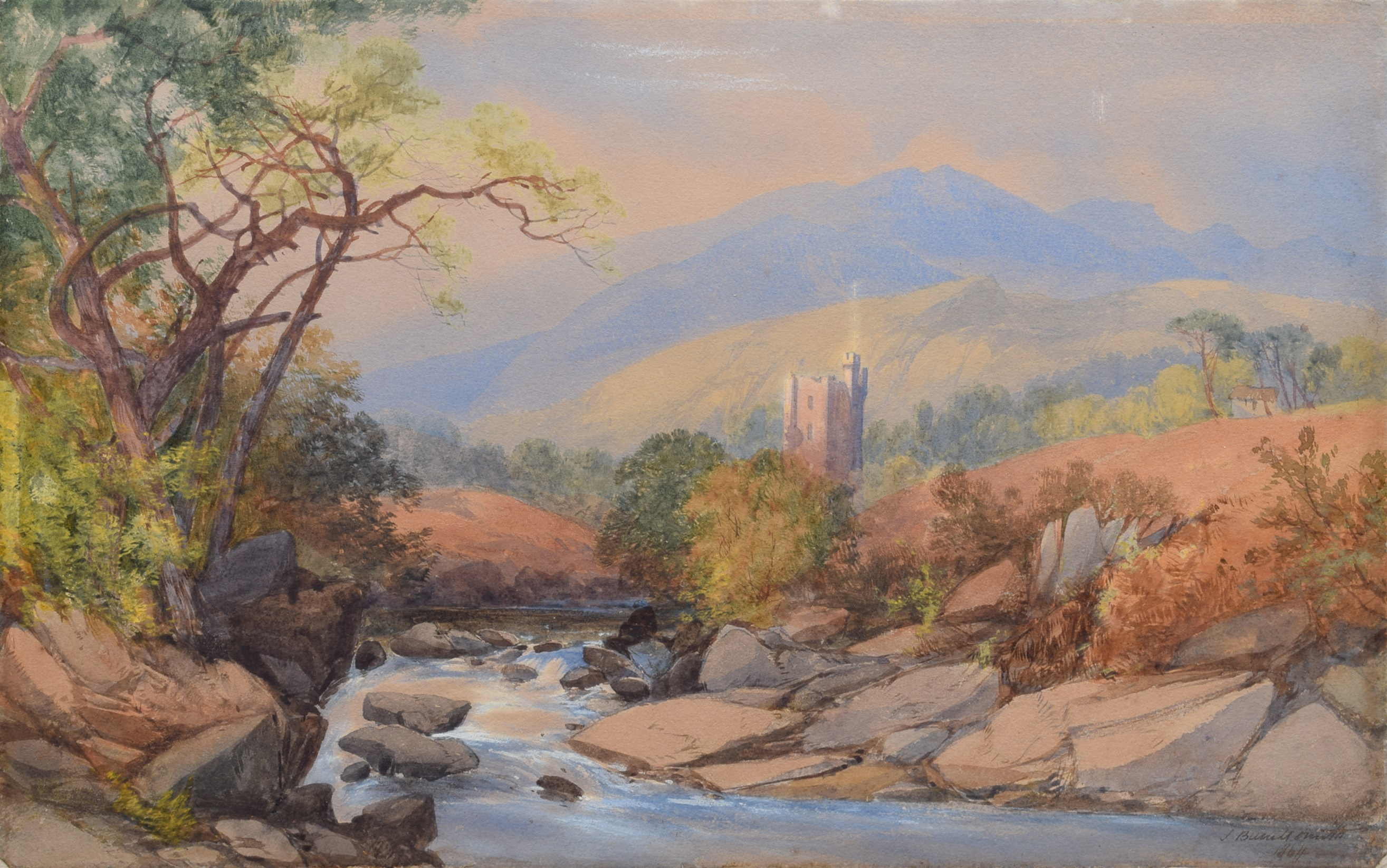 """James Burrell Smith (1822-1897), """"A View in Cumberland"""", signed and dated 1864, titled on mount,"""