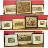 Assortment of various 19th century prints and needlework pictures to include sporting prints and two