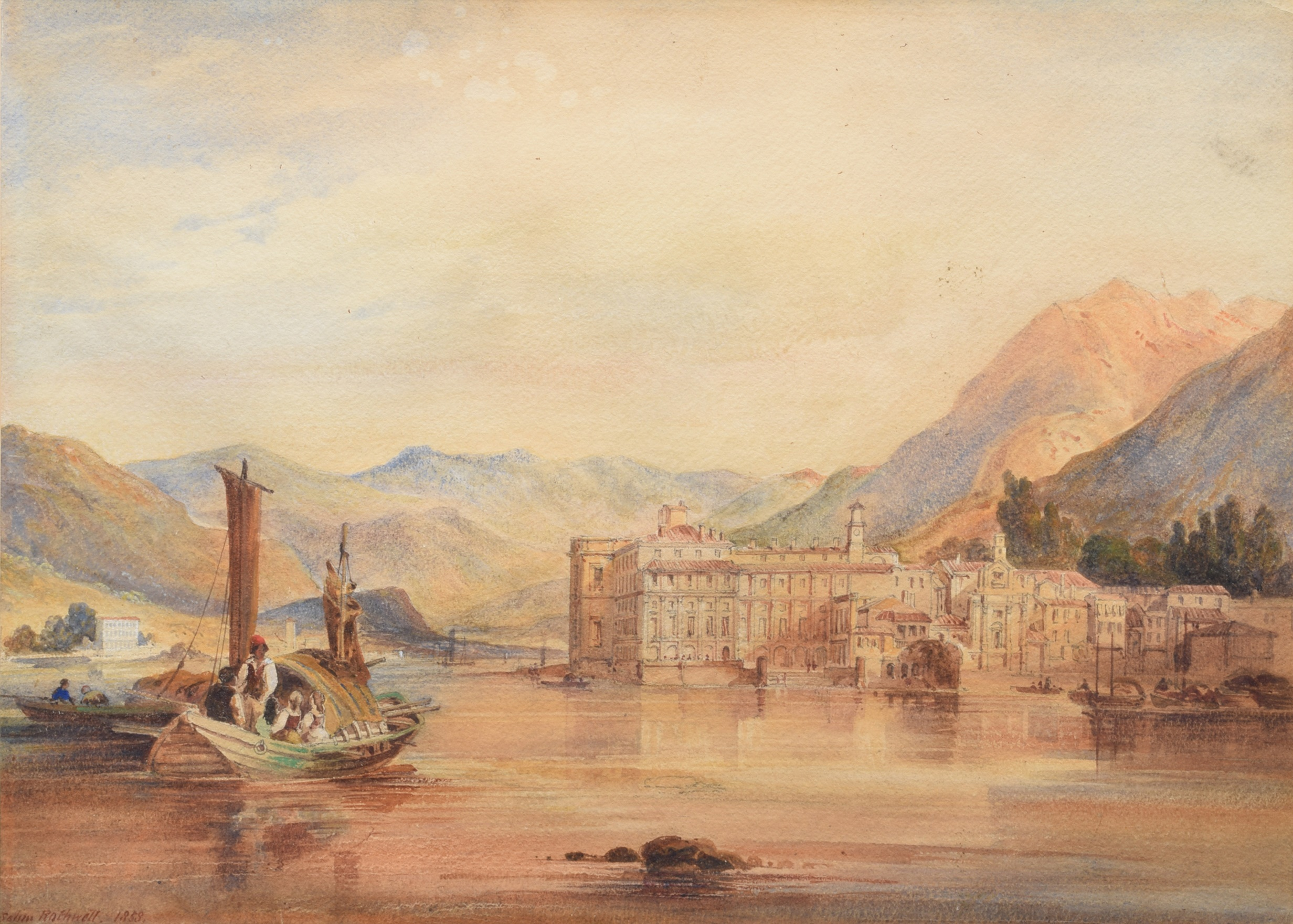 Lot 20 - Selim Rothwell (1815-1881), Lake Maggiore, signed and dated 1858, watercolour, 31.5 x 44cm, 12.5 x
