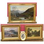Three Victorian gilt framed oil paintings depicting rural views and an oval framed print (4). We are