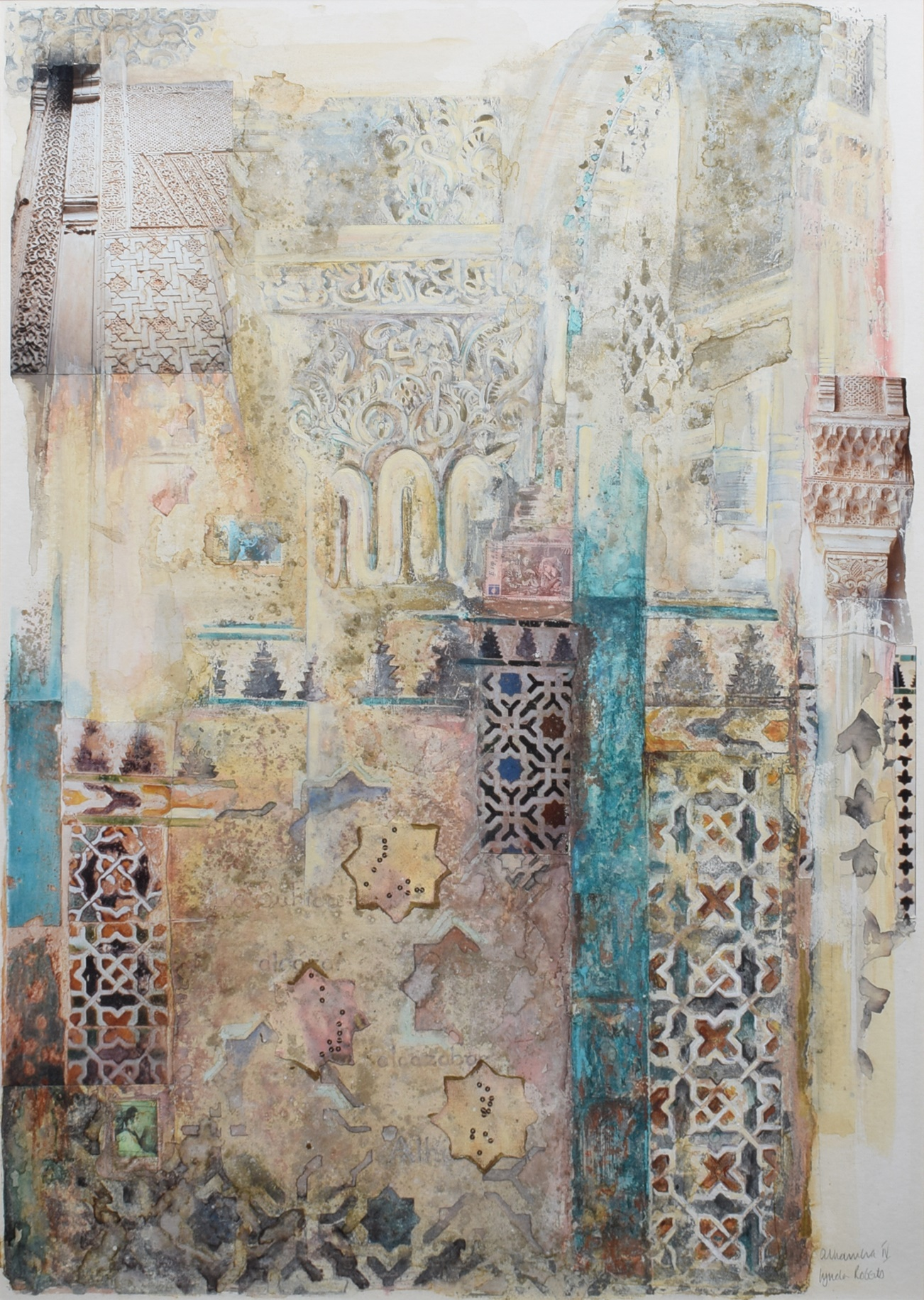 "Lot 15 - Lynda Roberts, 20th/21st century, ""Alhambra IV"", signed and titled, with exhibition label on"