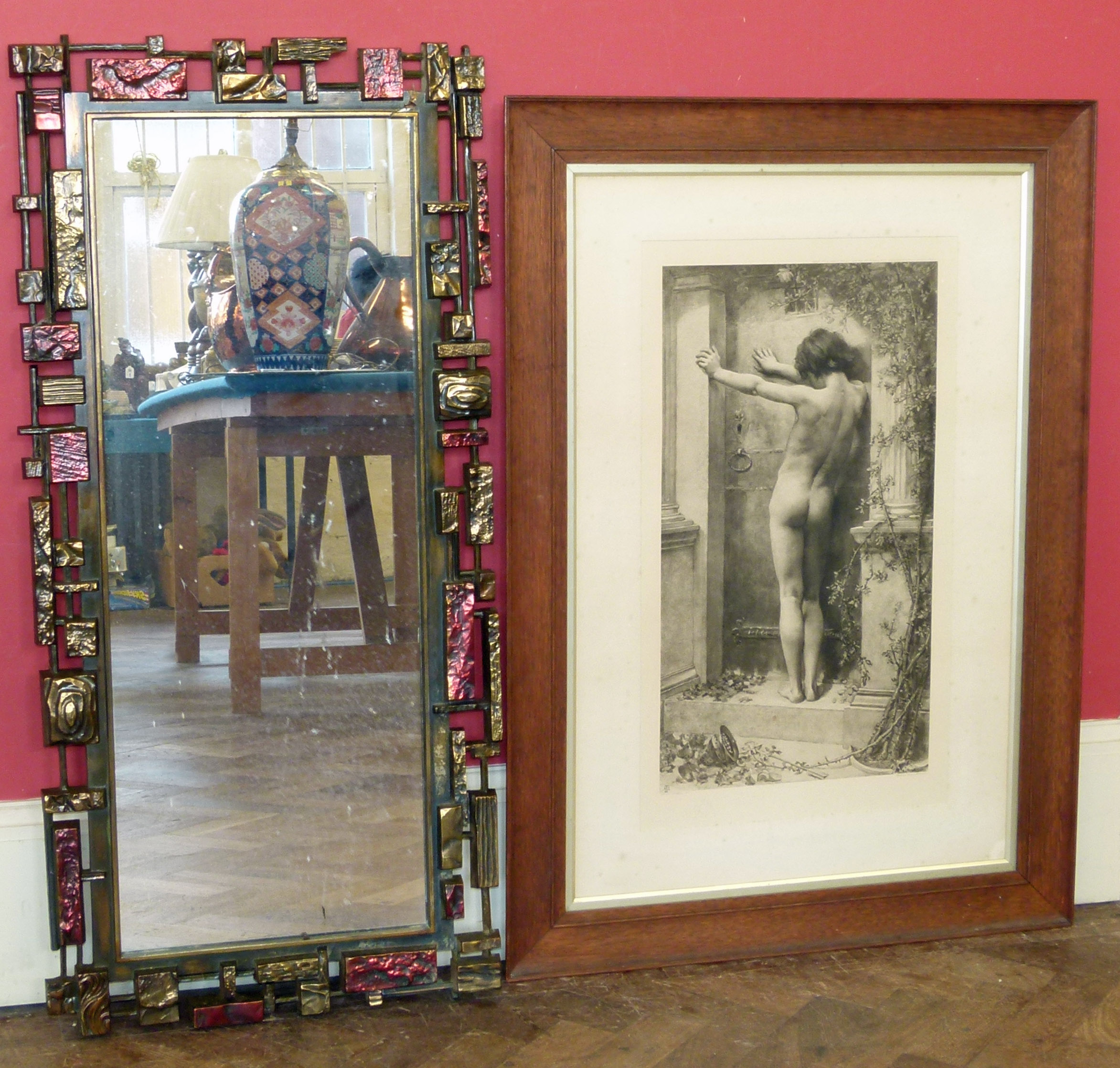 """Burlington proof sepia print of young boy titled """"Love Locked Out"""" in oak frame and modern mirror We"""