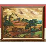G.Cervales, 20th rural scene with figures, oil We are unable to do condition reports on our