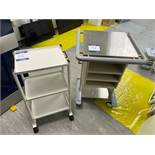 Eschmann ST80 trolley system with stainless steel top and 2x No. three tier steel ward trollies