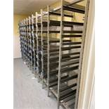 Ten bays of Surgical Instrument, multi-tier storage racking comprising: 8x No. bays with wire mesh