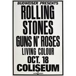 A Rolling Stones And Guns N' Roses LA Coliseum Concert Poster 1989