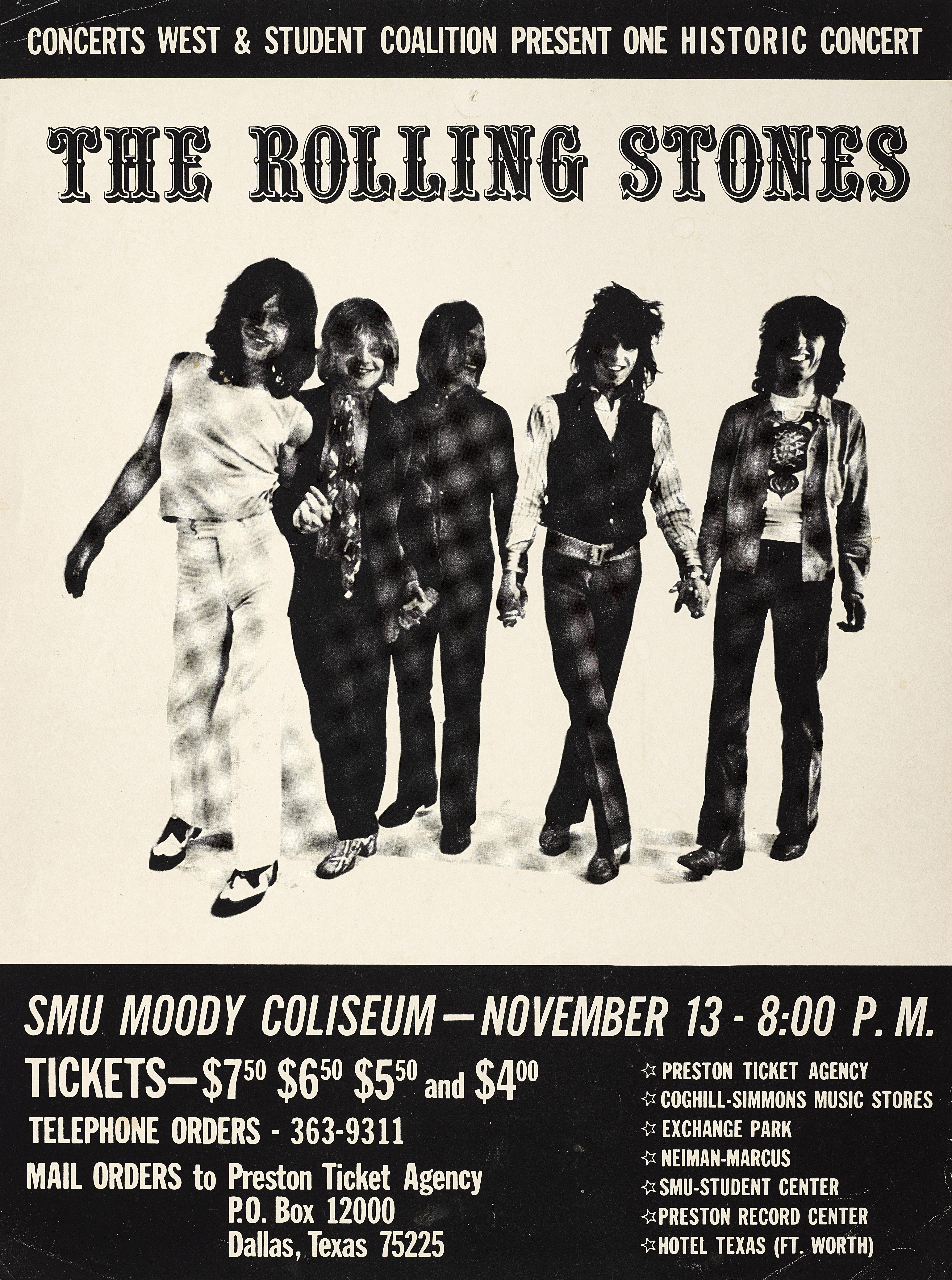 Lot 31 - A Rolling Stones SMU Moody Coliseum Small Concert Poster 1969