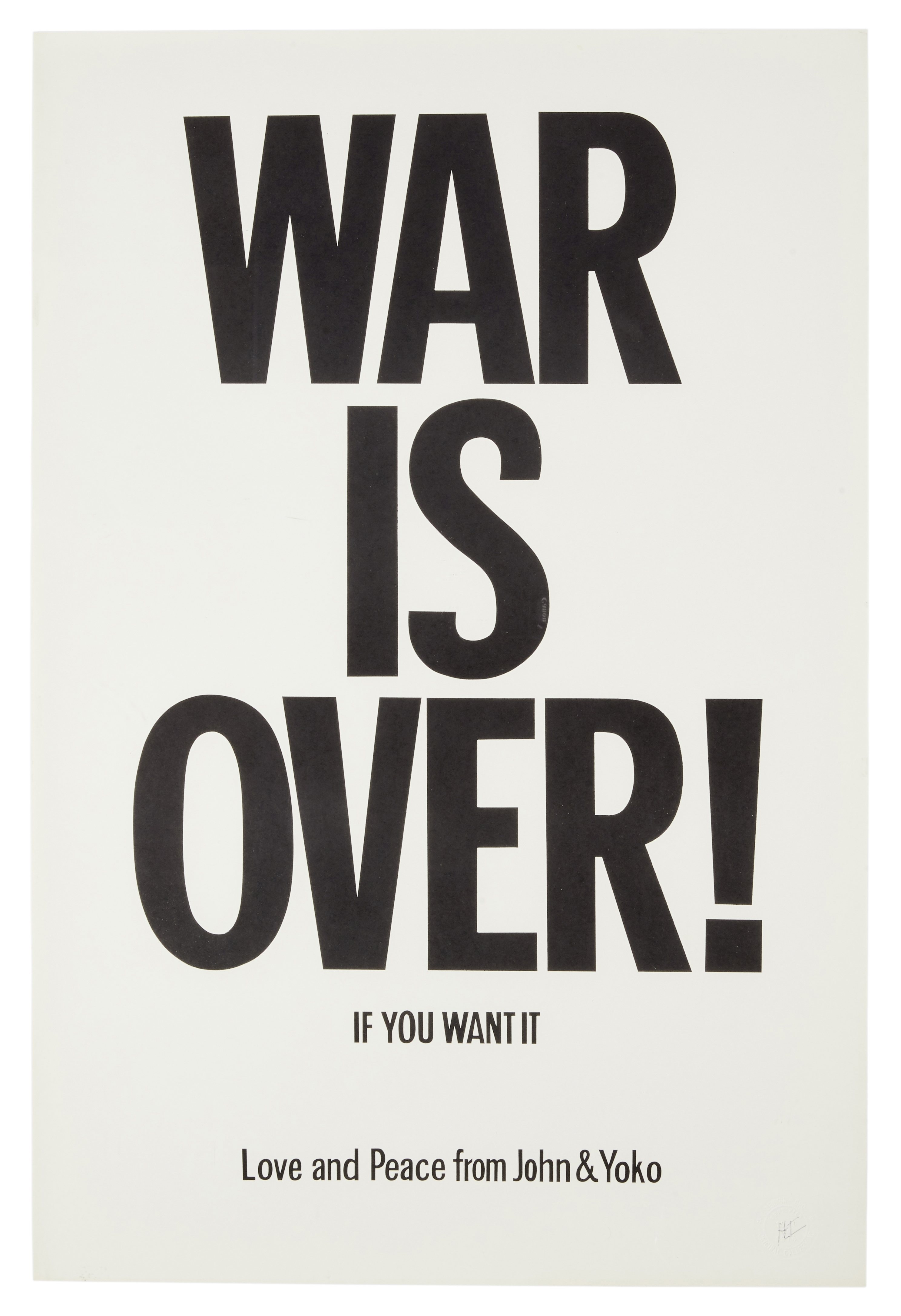 Lot 26 - John Lennon And Yoko Ono 'War Is Over' Promotional Poster 1971