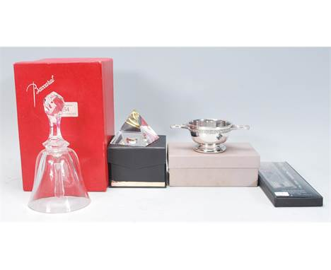 A collection of desktop items to include a Baccarat cut crystal glass commemorative bell acid etched Jane Austen 1775-1975 in
