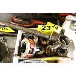 ASSORTED RIDGID PIPE THREADING DIES AND HANDLE