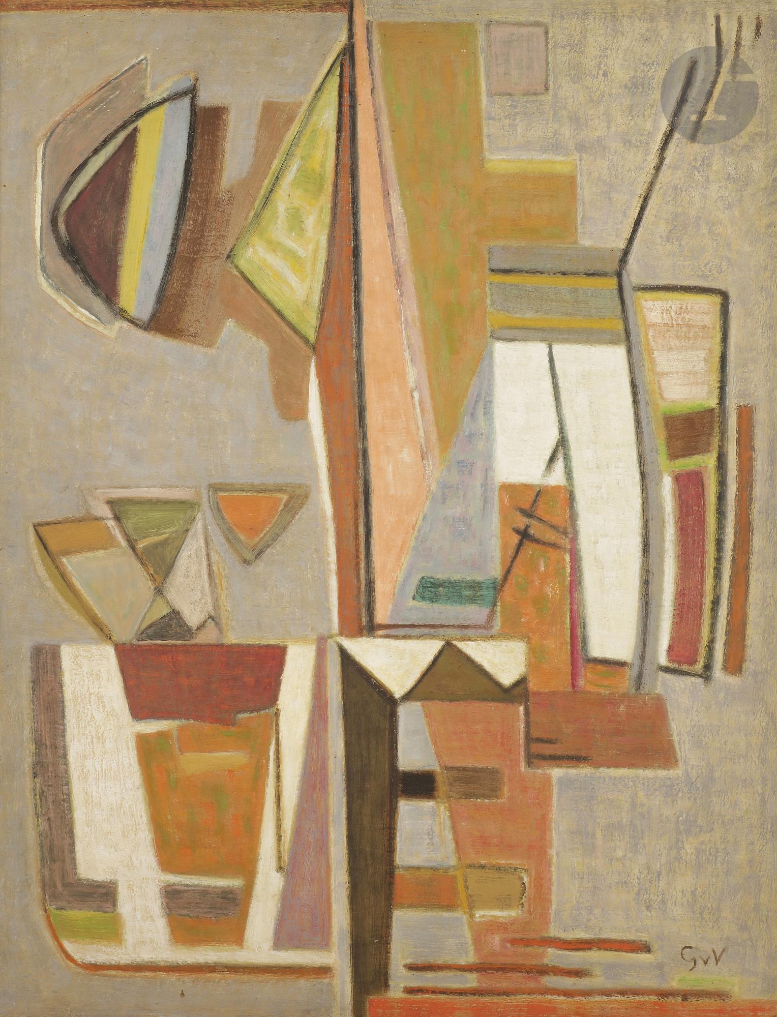 Lot 50 - Geer van VELDE [hollandais] (1898-1977) Composition, vers 1953 Huile sur toile. Signée en bas à