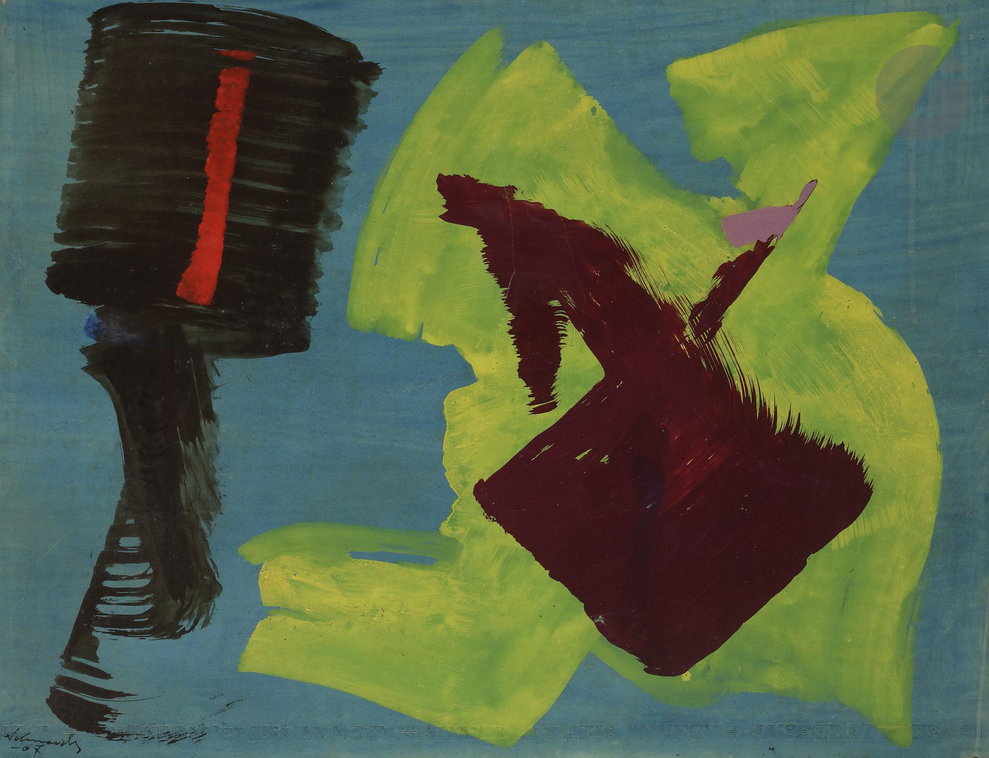 Lot 24 - Gérard SCHNEIDER (1896-1986) Composition, 1967 Huile et gouache sur papier contrecollé sur toile