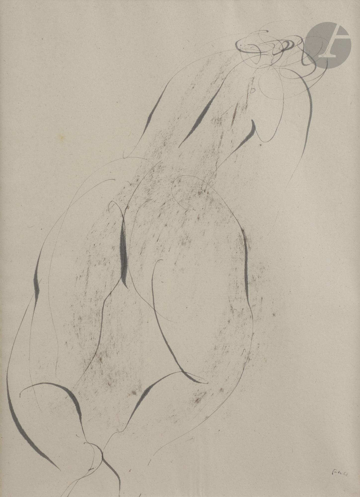 Lot 5 - Jean FAUTRIER (1898-1964) Nu de dos, 1944 Encre et frottage. Monogrammée et datée en bas à droite.