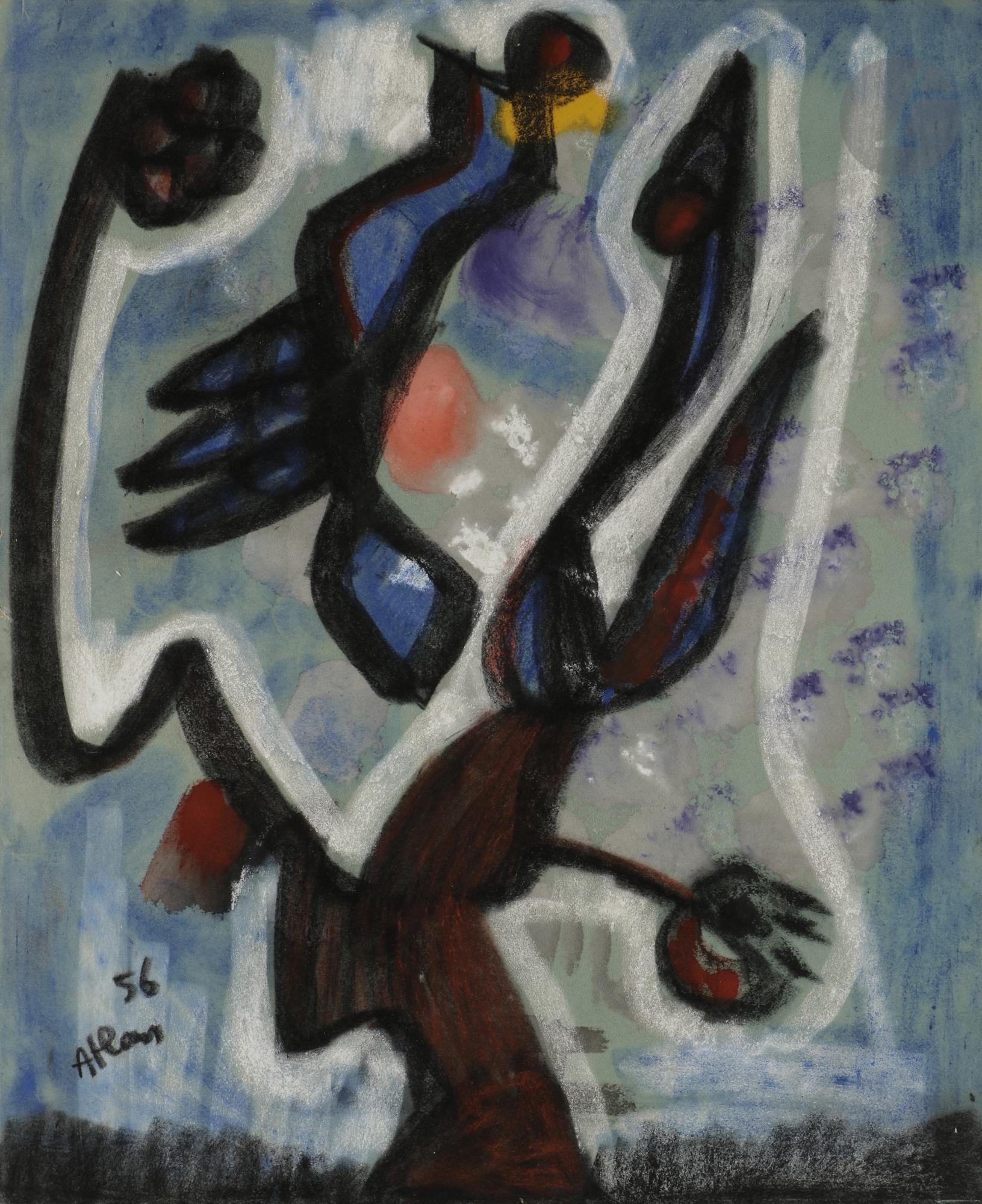 Lot 12 - Jean-Michel ATLAN (1913-1960) Composition, 1956 Pastel sur carton. Signé et daté en bas à gauche. (