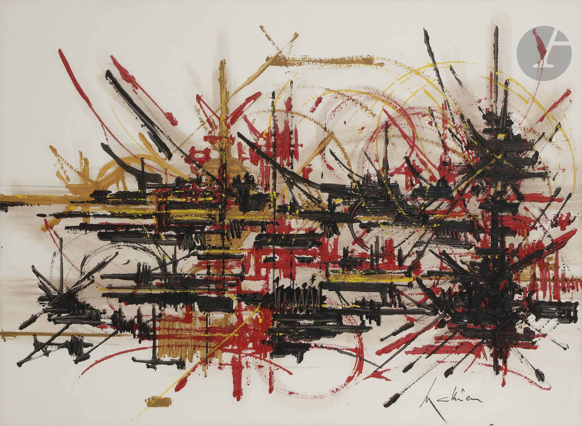 Lot 25 - Georges MATHIEU (1921-2012) Échanges amers, vers 1986 Huile sur papier contrecollé sur toile. Signée