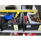 LOT OF HAMMERS, SCREWDRIVERS, HAND SAWS, WIRE CUTTERS, ETC.  (in two tubs)