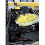 LOT OF BACK BRACES & SAFETY HARNESSES  (in one tub)
