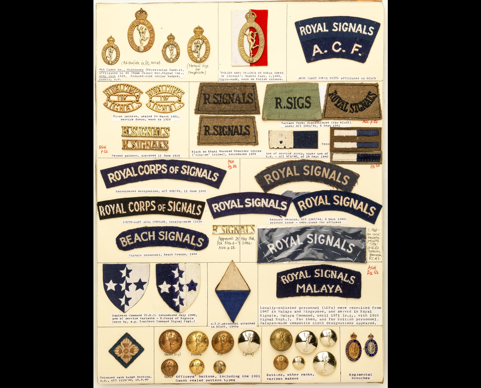 Royal Corps of Signals Insignia A card mounted with metal cap and collar-badges and shoulder-