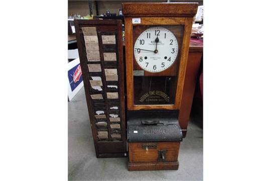 A National Time Recorder Co Ltd Factory Time Clock In Glazed Oak