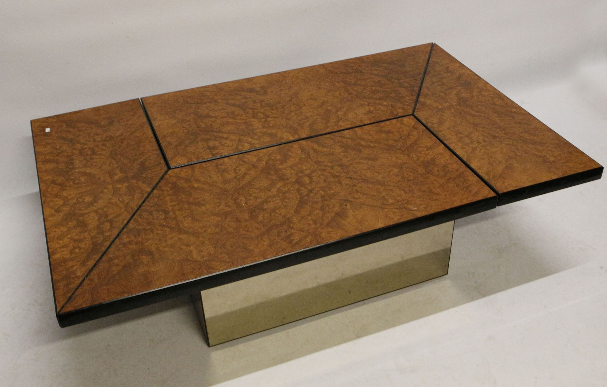 A Pierre Cardin coffee table late 1970 s burr walnut on mirrored