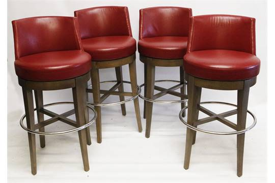A Set Of Four Modern 39 Cardinal Bar Stools By Philippe Hurel With Dark Red Leather Seat And