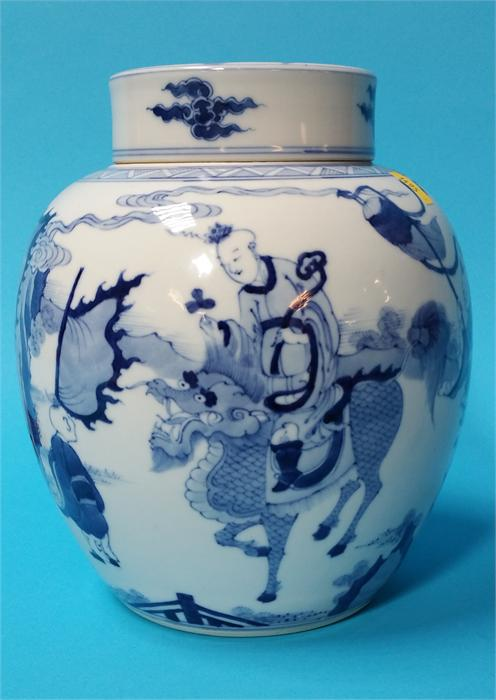 Lot 10 - A Chinese blue and white vase and cover, decorated