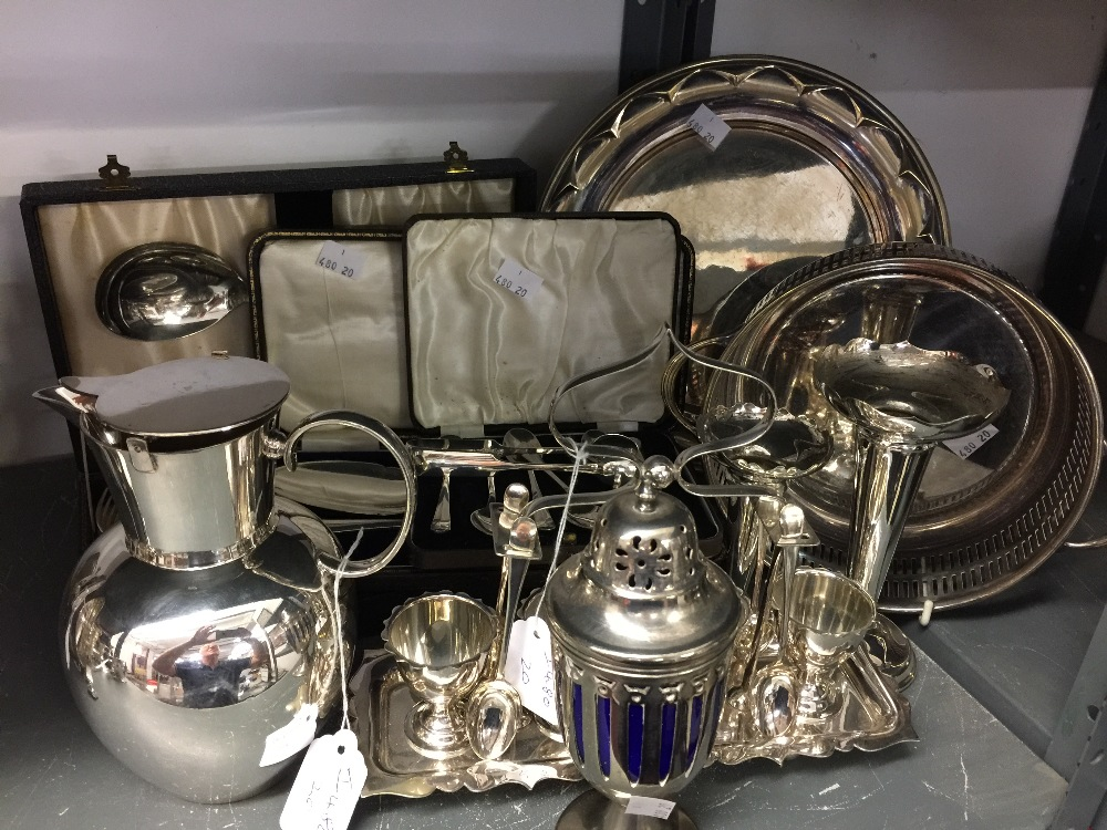 Lot 55 - Plated Ware: Hot water jug and lid, sugar sifter, vases, four cup boiled egg set, boxed sets of