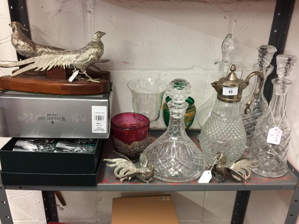 Lot 45 - 20th cent. Glassware: Ships decanter, 2 claret jugs, 2 spirit decanters, celery pot, a top glass
