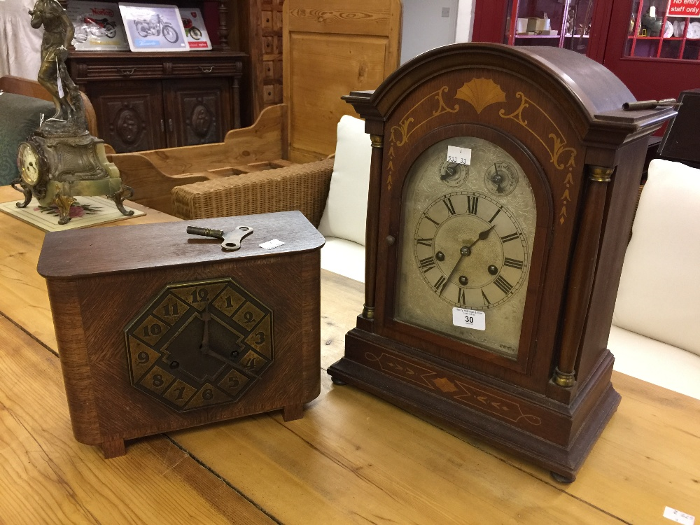 Lot 30 - Clocks: Philipp Haas & Söhne mantle clock, domed oak case, silvered dial chapter ring with Roman