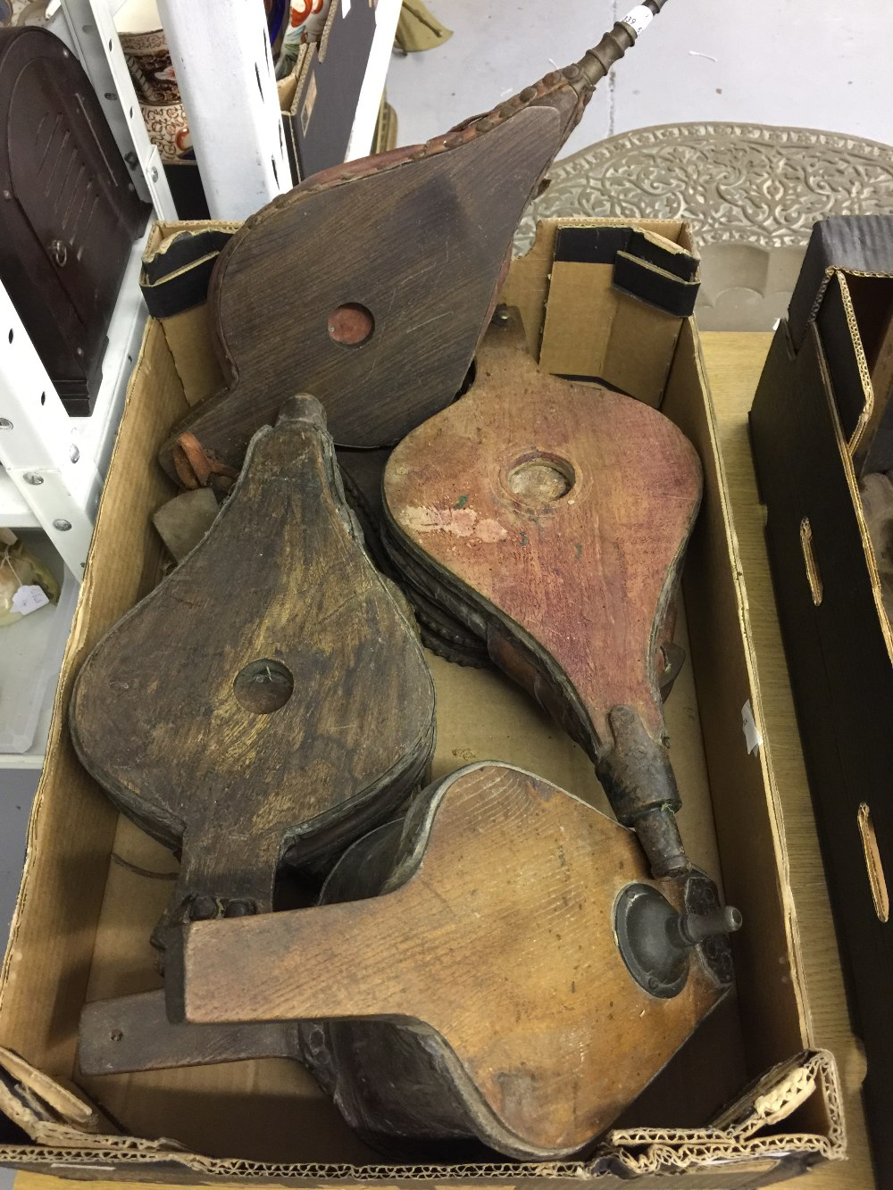 Lot 19 - 19th cent. Treen & leather set of bellows, 5 forward blow & 1 sideway blow. (6 Total).