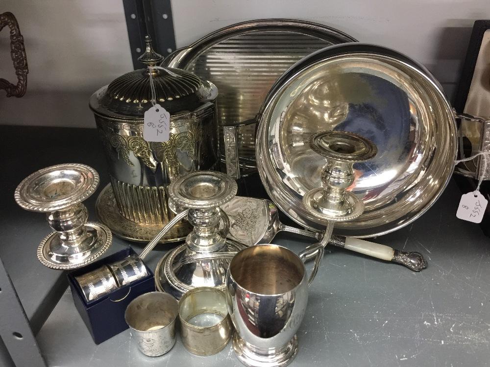 Lot 54 - Plated Ware: Silver plated biscuit barrel, tray, candelabra, bowl, cake server, christening mug,