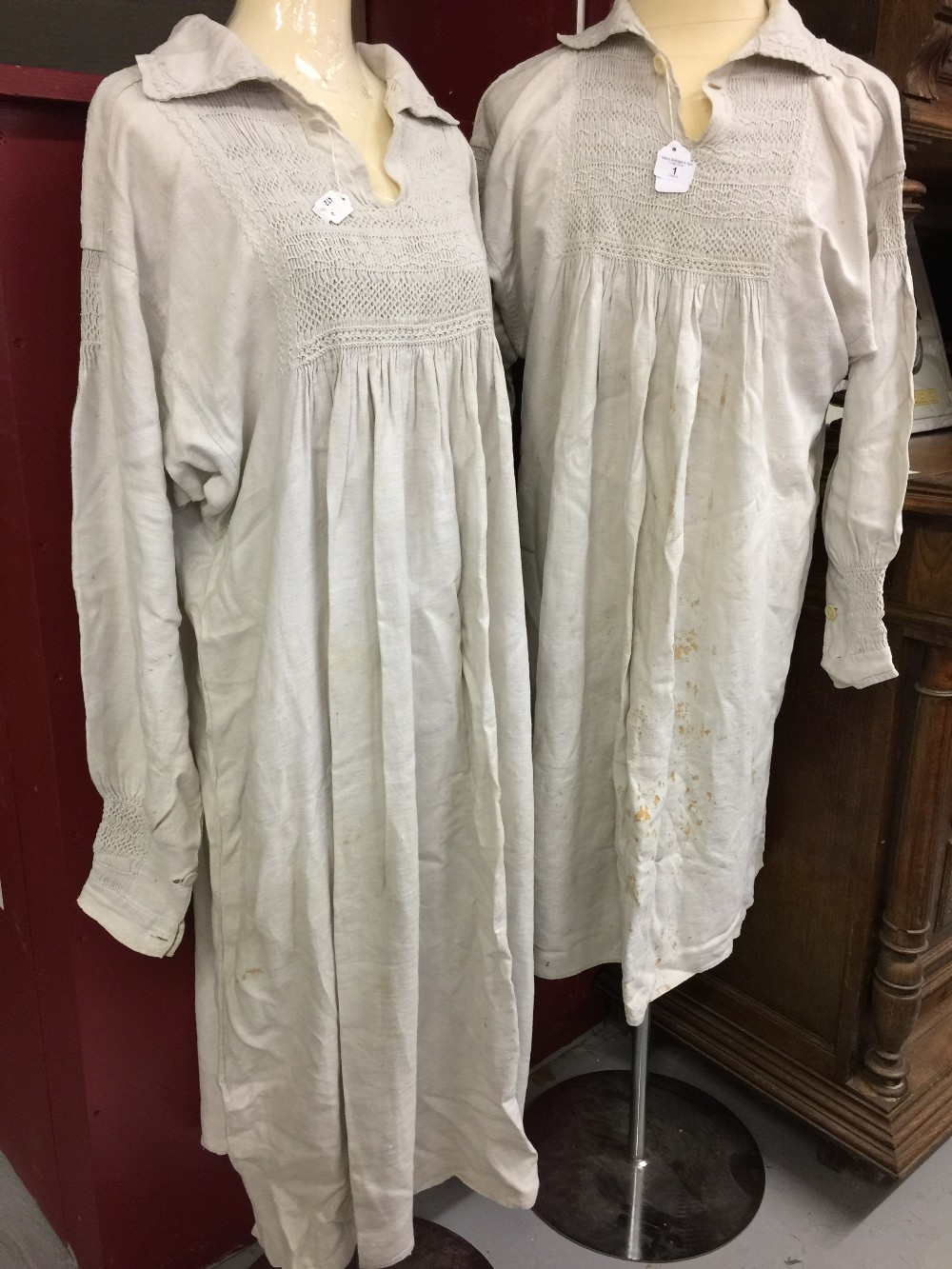 Lot 1 - 19th cent. Agricultural Garments: Linen/cotton smocks, long sleeve, double cuffs, stitching to