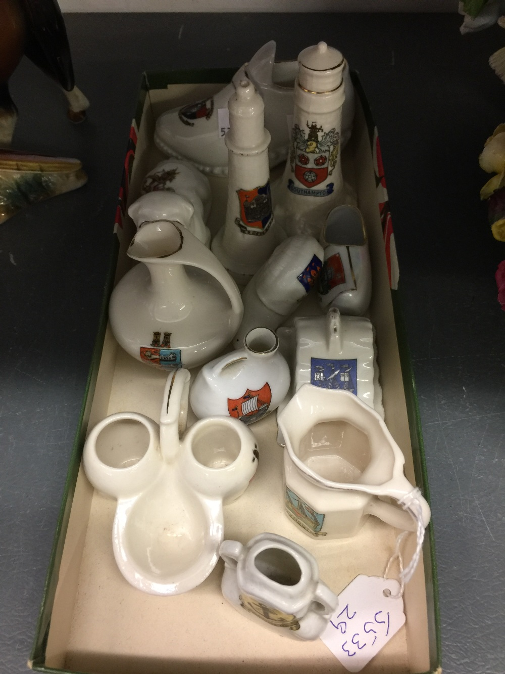 Lot 60 - Crested souvenir ware from Southampton, Deal, Newbury, Portland,etc. (11)
