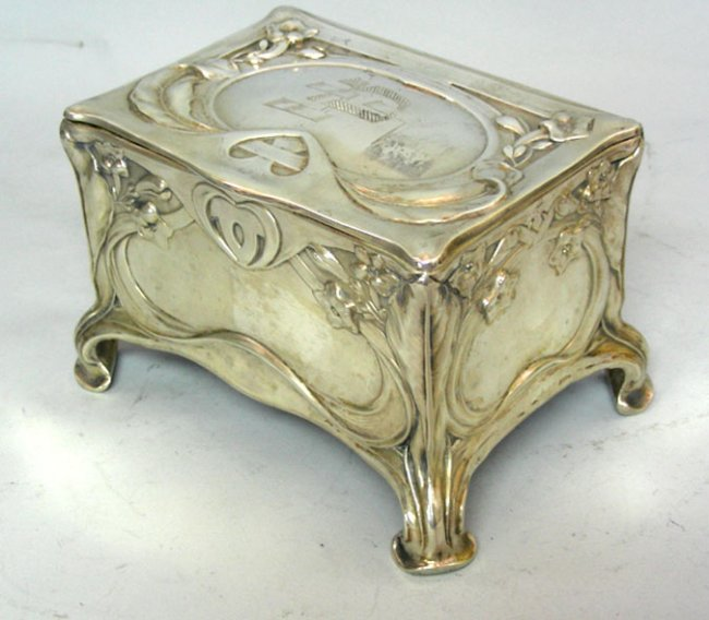 Art Nouveau Silver Jewelry Box Casket by Bruckmann Sohne