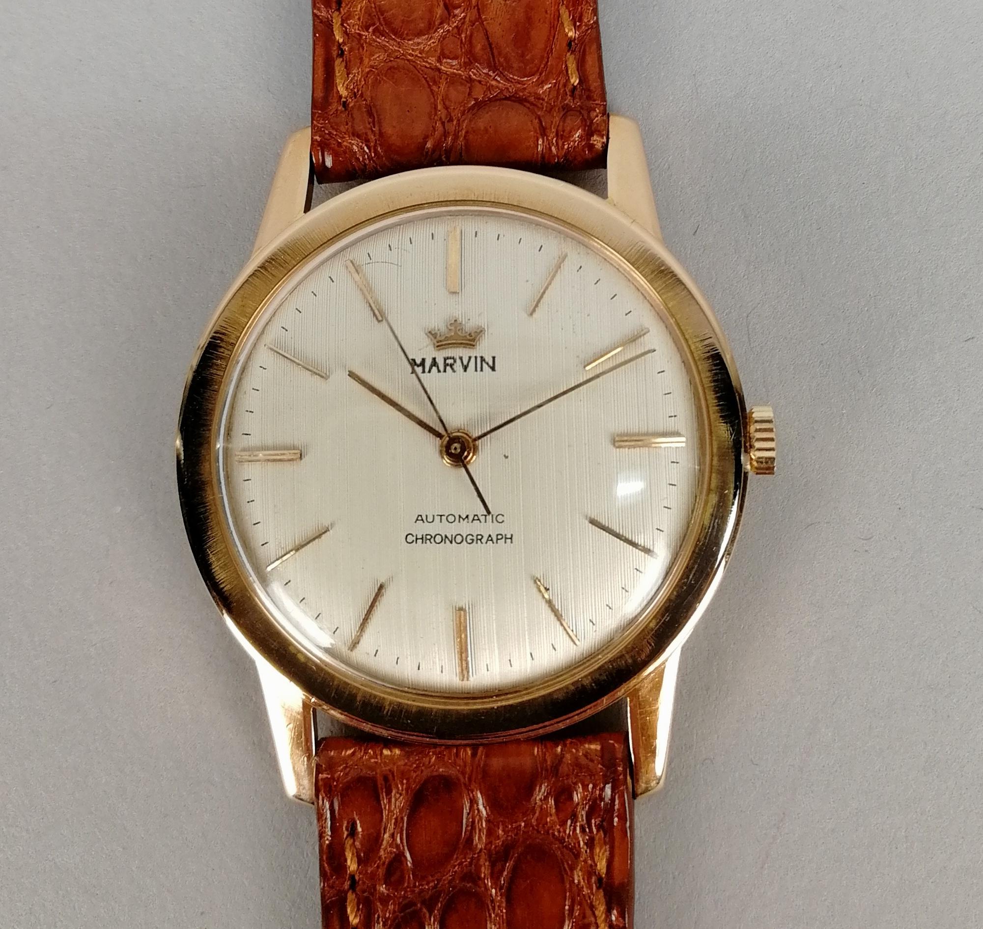 Lot 30 - MARVIN. Orologio da uomo in oro rosa 18 kt. a carica manuale. Quadrante originale. Epoca 1960.