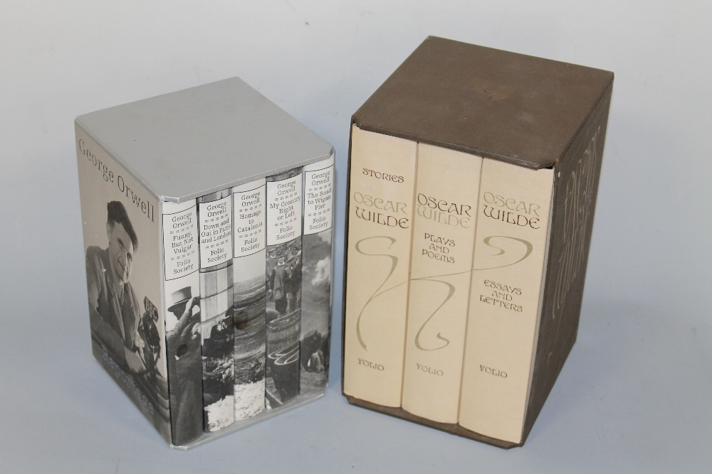 Lot 157 - FOLIO SOCIETY BOXED SET OF FIVE GEORGE ORWELL VOLUMES, together with a boxed set of three Oscar
