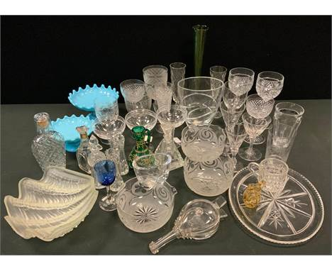 Victorian and later glasses - champagne flutes, wine, cordial, whisky glasses, oil bottles, Baccarat tumbler, Wedgwood glass
