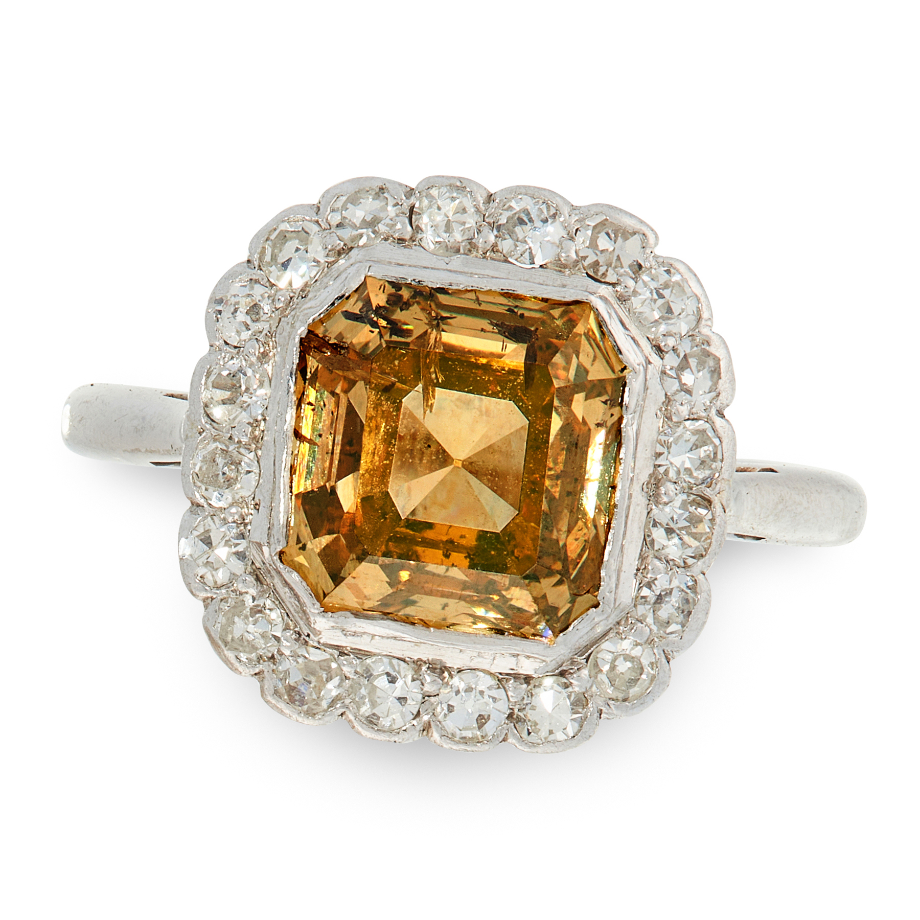 A YELLOW DIAMOND AND WHITE DIAMOND RING in 18ct white gold and platinum, set with an asscher cut
